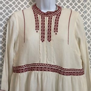 ASOS ivory bohemian dress with red embroidery